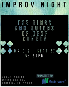 improv night kings queens deaf comedy